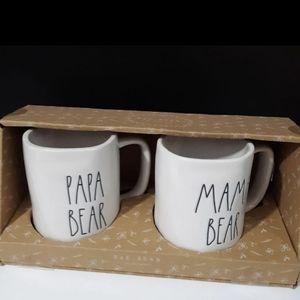 Rae Dunn Papa Bear & Mama Bear Mugs